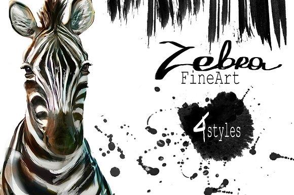 Set zebra portraits .4 styles - Illustrations