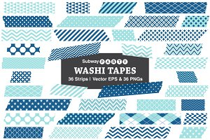 Vector Washi Tape Strips - Blue Aqua