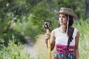 Beautif girl walking mountain trail