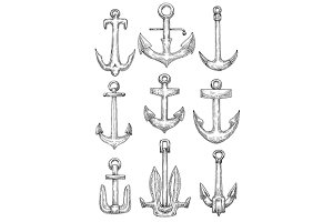 Naval anchors set for heraldry