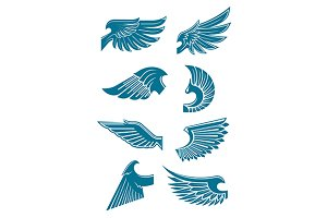 Blue heraldic wings set