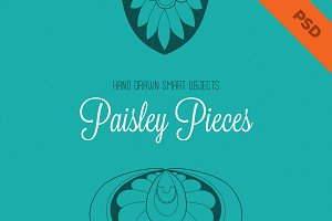 Hand Drawn Paisley Pieces - PSD