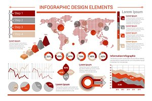 Charts, graphs, map for infographics