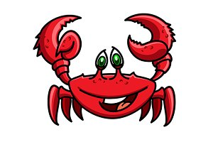 Smiling cartoon ocean red crab