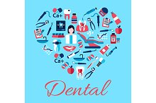 Heart with dentistry icons