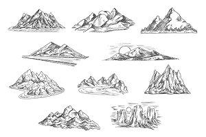 Sketched mountain landscapes