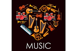 Love music heart icon