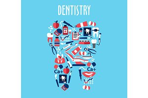 Healthy tooth with dentistry icons