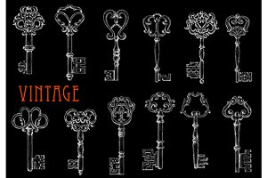 Vintage ornate keys chalk sketches