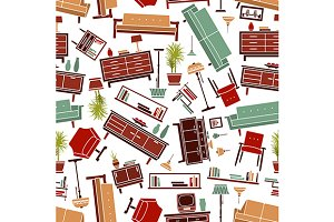 Interior furniture seamless pattern