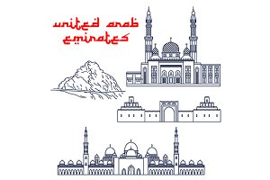 United Arab Emirates landmarks icons