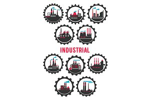 Industrial plants flat icons