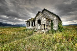 Old abandoned school in mountains