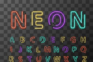 Colorful realistic neon letters