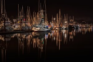Harbor boats at night