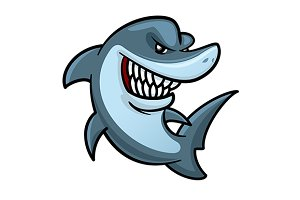 Cartoon hungry shark mascot