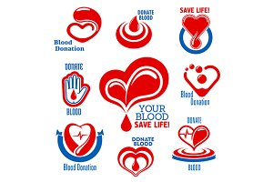Red hearts icons with blood drops
