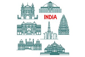 Indian landmarks thin line icons