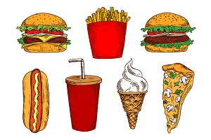 Fast food products color sketches