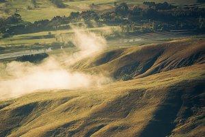 Farmland in light and shadow, NZ