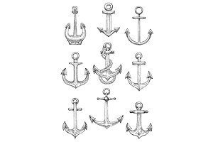 Vintage engraving anchor sketches