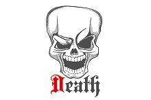 Creepy laughing human skull