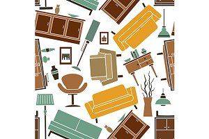Seamless pattern household furniture