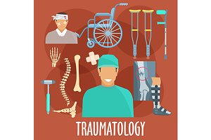 Traumatology medicine icons