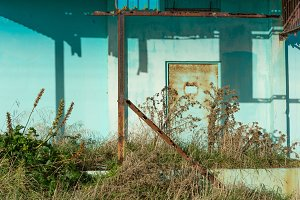 Rusty old factory door