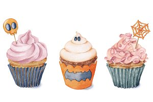Watercolor cupcakes for Halloween.
