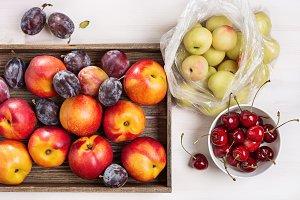 Plums, nectarines, cherries.