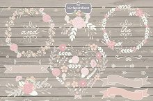 Rustic flowers wreath cliparts
