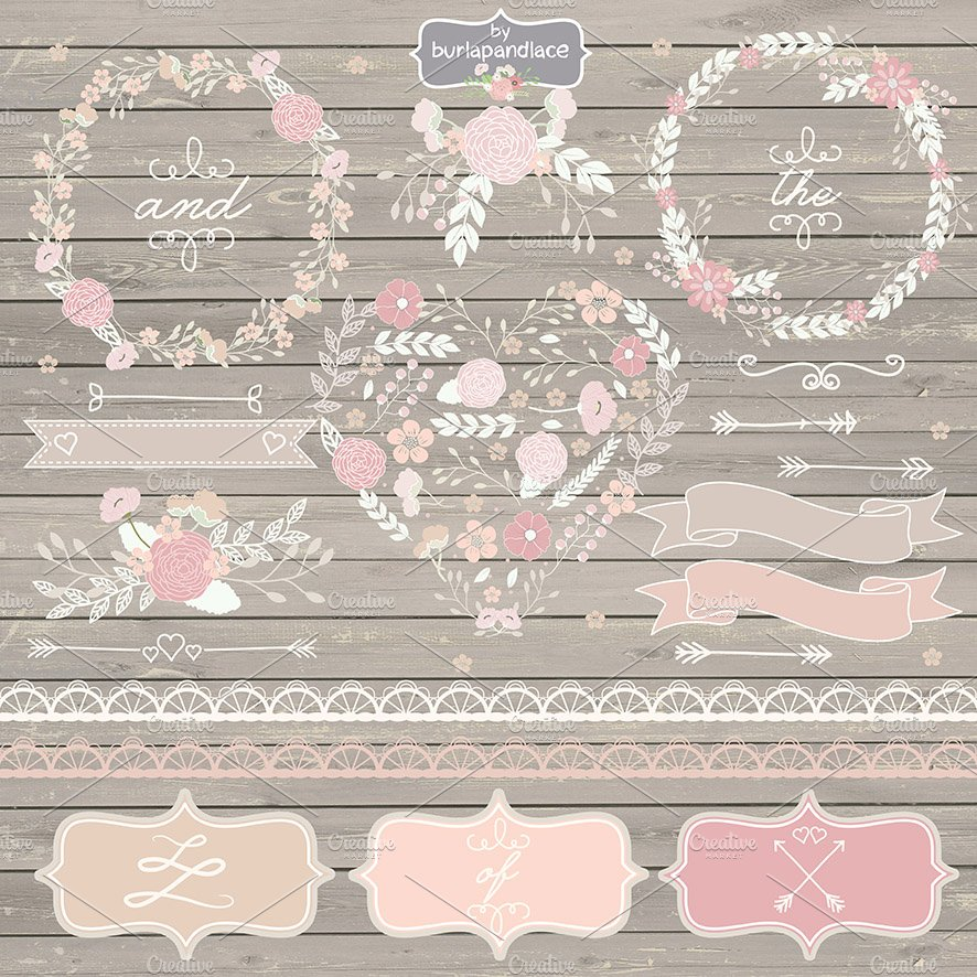 Rustic Flowers Wreath Cliparts Illustrations Creative Market