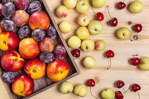 Nectarines, cherries, plums.