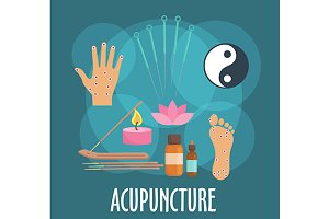 Acupuncture medicine icons