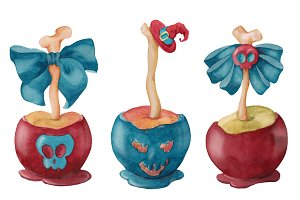 Watercolor caramel apples