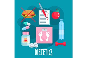 Dietetics icons set
