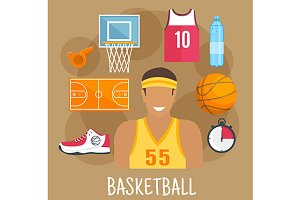 Basketball player profession icons