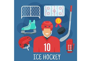 Ice hockey player profession icons