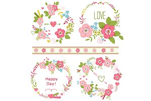 Roses wreath set and floral clip-art