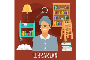 Librarian profession icons