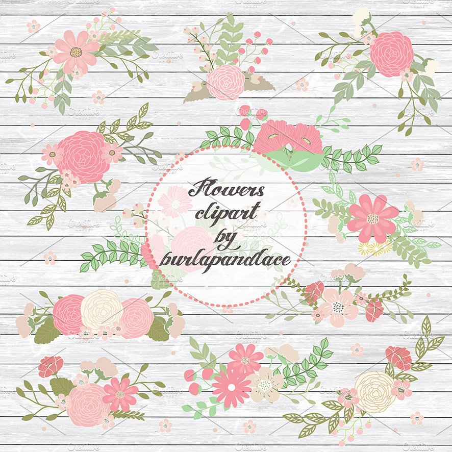 Rustic Flower Clipart Illustrations Creative Market