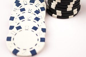 poker coins isolated on white