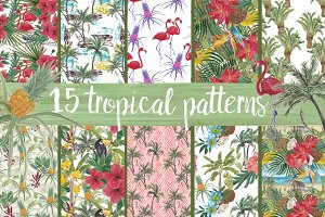 15 wAtercOlor Tropical patterns
