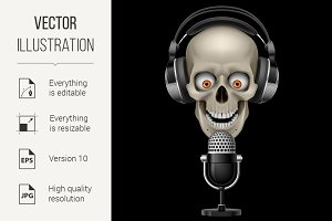 Skull with headphones with microphon