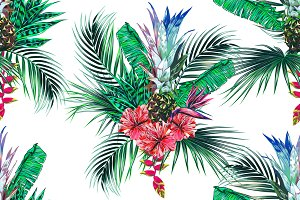 Tropical jungle vector pattern