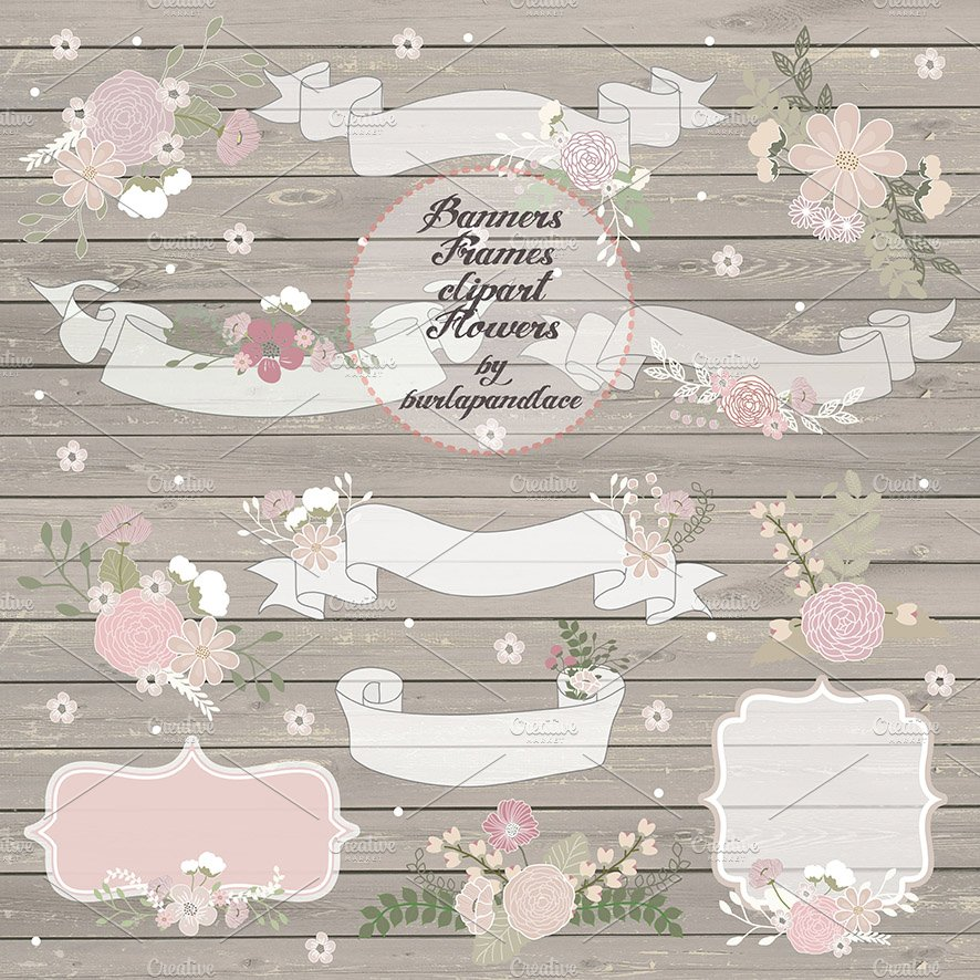 Rustic Wedding Banners Illustrations Creative Market