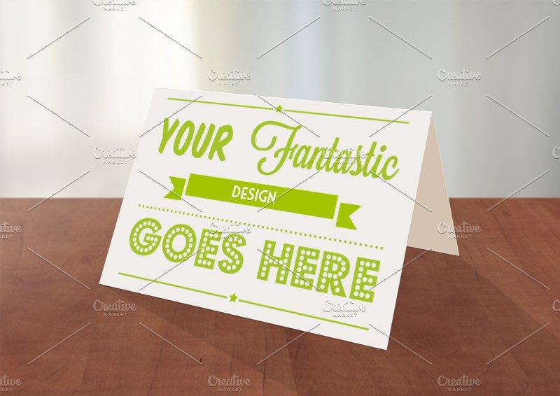 greeting card photoshop mockup card templates creative market. Black Bedroom Furniture Sets. Home Design Ideas