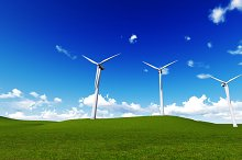 wind turbine in a meadow