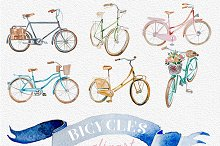 Watercolor Vintage Bicycles Clipart